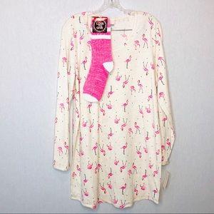 Jenni festive flamingo sleep shirt set with socks